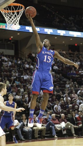Elijah Johnson (15) breaks free down the middle for a layup during the second half of the Jayhawks 66-58 win over the Aggies of Texas A&M, Wednesday, February 22, 2012,  in College Station, TX. Johnson scored a team high 21 points.