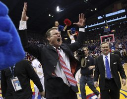 Kansas head coach Bill Self raises up the fieldhouse following the Jayhawks' 87-86 overtime win over Missouri on Saturday, Feb. 25, 2012.