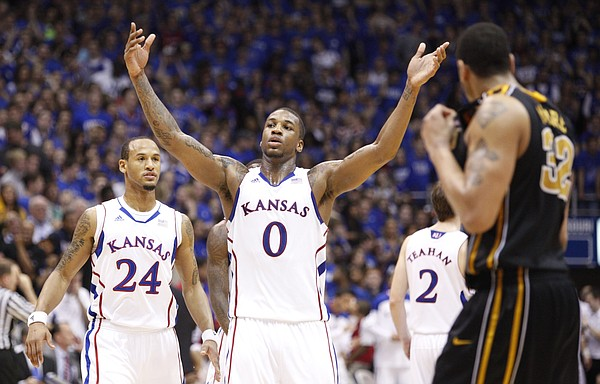 Kansas forward Thomas Robinson raises up the fieldhouse during overtime against Missouri on Saturday, Feb. 25, 2012 at Allen Fieldhouse.