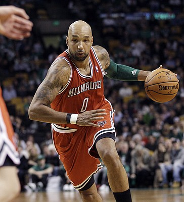 Milwaukee Bucks forward Drew Gooden (0) drives during the fourth quarter of an NBA basketball game against the Boston Celtics in Boston on Wednesday, Feb. 29, 2012. The Celtics won 102-96.