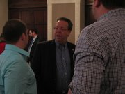 State Sen. Tom Holland, D-Baldwin City, on Saturday speaks with attendees at the Lawrence Chamber of Commerce's Eggs and Issues breakfast held at the Eldridge Hotel. Legislators provided an update on the 2012 legislative session.