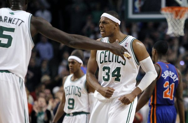 Boston Celtics' Paul Pierce (34) reacts after making a 3-pointer in the fourth quarter to tie the NBA basketball game against the New York Knicks in Boston, Sunday, March 4, 2012. The Celtics won 115-111 in overtime.