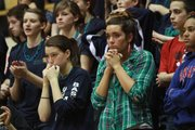 Seabury students react to a 51-50 loss to Ashland in a first-round Class 1A state tournament game on Wednesday, March 7, 2012, in Emporia.