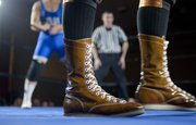 Matt Riviera dons golden boots during his fights.