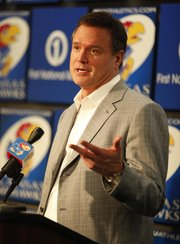 Kansas head coach Bill Selfs talks with media members during a news conference following the NCAA selection show. The Jayhawks, who claimed the 2 seed in the Midwest Regional will take on 15 seed Detroit in the round of 64 teams in Omaha, Neb.
