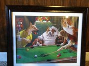 "A print from Chad Lawhorn&squot;s Dogs Playing Pool Art Collection. This one is entitled ""Ruff-Roh!"""