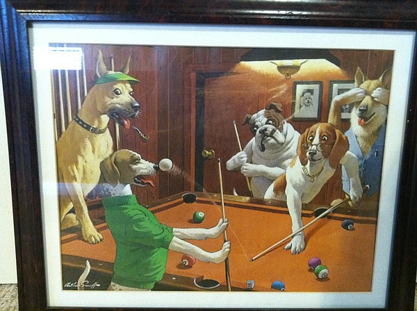 "A print from Chad Lawhorn's Dogs Playing Pool Art Collection. This one is entitled ""That's not a Biscuit!"""
