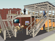 A rendering of a proposed rooftop deck area for Harbour Lights, 1031 Mass.