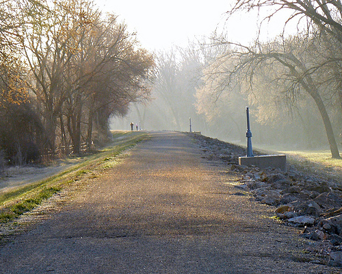 Looking down the levee in the early morning of March 10, 2012. Photo courtesy of runLawrence.