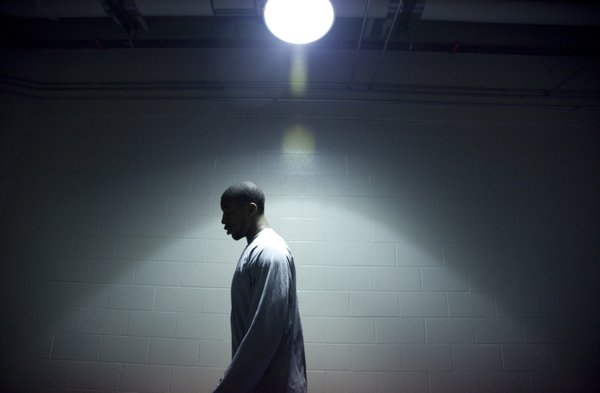 Kansas forward Thomas Robinson makes his way through the hallways of CenturyLink Center as the team prepares for practice on Saturday, March 17, 2012.