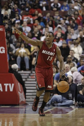 Miami Heat&#39;s Mario Chalmers during an NBA basketball game against the Philadelphia 76ers, Friday, March 16, 2012, in Philadelphia.
