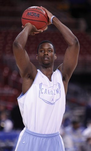 North Carolina forward Harrison Barnes puts up a jumper during practice at the Edward Jones Dome in St. Louis.