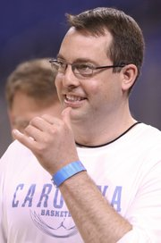 North Carolina assistant coach Jerod Haase watches over practice at the Edward Jones Dome in St. Louis.