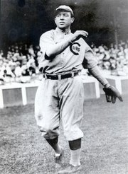 Major League Baseball shortstop Joe Tinker played for the Chicago Cubs from 1902 to 1912, a span during the which the Cubs won two World Series. Tinker played for two other teams before rejoining the Cubs for the 1916 season. Tinker, from Muscotah, Kan., was elected into the3 Baseball Hall of Fame in 1946.