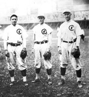"Early 20th Century Chicago Cubs players, from left, Joe Tinker, Johnny Evers  and Frank Chance. The trio was well-known for their double-play abilities, with Tinker playing shortstop, Evers second base, and Chance first base. The three were also the subject of a well-known Franklin Pierce Adams 1910 poem ""Tinker to Evers to Chance."""