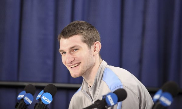 North Carolina forward Tyler Zeller smiles as he talks about facing the Kansas big men during a press conference on Saturday, March 24, 2012 at the Edward Jones Dome in St. Louis.
