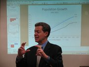 Gov. Sam Brownback on Wednesday spoke with a small group of the National Federation of Independent Business of Kansas about his proposal to cut business and income taxes.