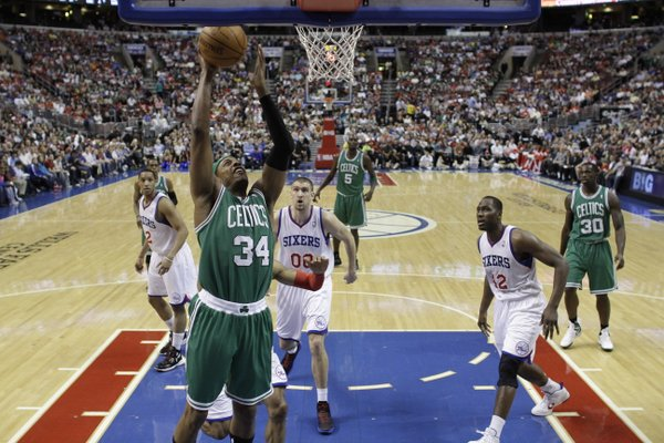 Boston Celtics' Paul Pierce during an NBA basketball game, Friday, March 23, 2012, in Philadelphia.