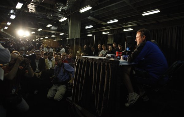 Kansas head coach Bill Self takes questions during breakout interviews at the Superdome in New Orleans on Thursday, March 29, 2012.