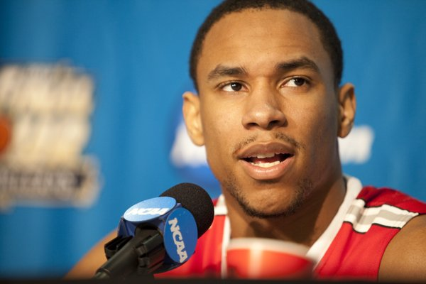 Ohio State forward Jared Sullinger talks about his regret for not playing the Jayhawks at Allen Fieldhouse when the two teams met earlier this year, Thursday, March 29, 2012.