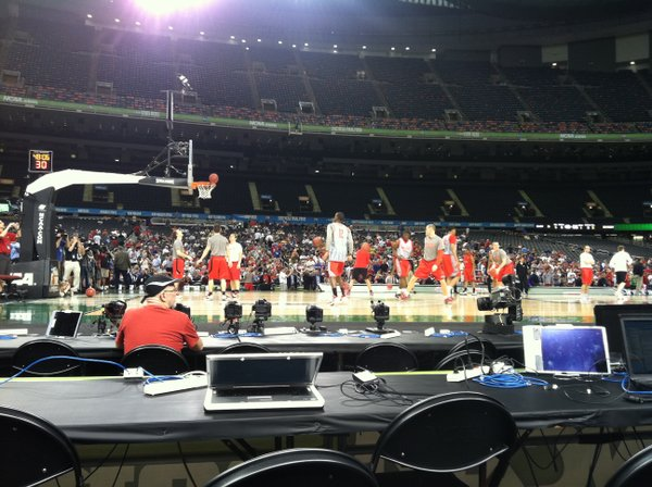Ohio State players shoot at open practice on Friday, March 30, 2012, in the Superdome in New Orleans.