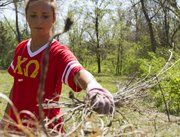 Sophomore Erin Gahagan adds to a pile of weeds at the Lawrence Hidden Valley Camp Saturday, March 31, 2012.  Gahagan was taking part in The Big Event, in which KU students volunteer all across Lawrence doing things such as painting, gardening and weeding.