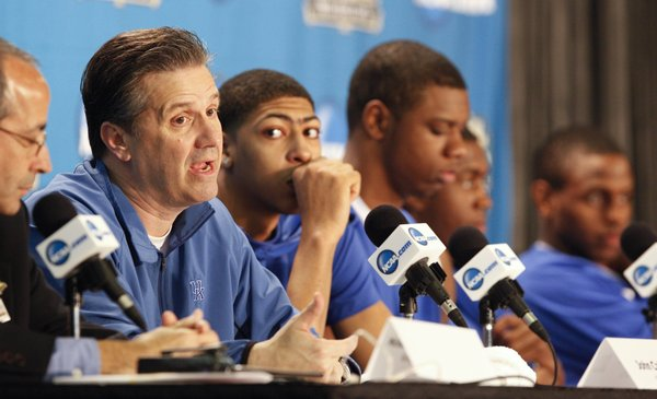 Kentucky head coach John Calipari responds to a question about his thougts on meeting Bill Self and the Jayhawks again in the national title game during a press conference on Sunday, April 1, 2012 at the Superdome.