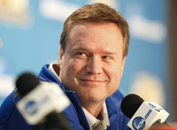 Kansas head coach Bill Self takes questions during a press conference on Sunday, April 1, 2012 at the Superdome.