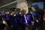 KU fans wait in line to get into the Superdome. KU and Kentucky fans took shelter in the underground parking at the Superdome as a storm passed over New Orleans before the NCAA Men's Basketball Championship game, Monday, April 2, 2012.