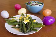 Delicious: Megan made roasted asparagus with hard-boiled egg vinaigrette. Both Megan and Sarah used asparagus, which is in season in spring.