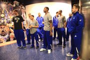 The Kansas Jayhawks get ready to enter the court as more than 5,000 loyal Jayhawk fans came to Allen Fieldhouse to welcome them back from the NCAA tournament in New Orleans on Tuesday, April 3, 2012.