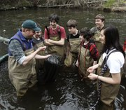 Chris Bowser, left, of the New York State Department of Environmental Conservation checks a net for American eels with Kingston High School students on the Black Creek in West Park, N.Y., in this April 18, 2011, file photo.  An academic analysis of surveys spanning more than 40 years has found that today's young Americans are less interested in the environment and in conserving resources — and often less civic-minded overall — than their elders were when they were young.