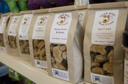 Good Dog! Biscuits & Treats are available for sale at Pawsh Wash, 1520 Wakarusa Drive. Good Dog! is run by Lawrence Community Center and has its own shop at Ninth and Connecticut streets.