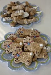 Pet-Delights dog biscuits are displayed for sale at Pawsh Wash, 1520 Wakarusa Drive.