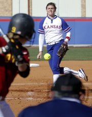 KU pitcher Alicia Pille throws to an Iowa State batter in a game Friday, April 20, 2012, at KU.