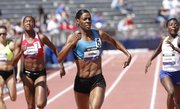 Olympic gold medalist DeeDee Trotter outdistances her competition to win the 400-meter dash on the final day of the Kansas Relays, Saturday, April 21, 2012, at Memorial Stadium.