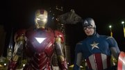 "In this film image released by Disney, Iron Man, portrayed by Robert Downey Jr., left, and Captain America, portrayed by Chris Evans, are shown in a scene from ""The Avengers"""