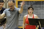 Annalize Sussman, a Kansas University master's student, sings as David Neely, director of orchestral activities, conducts the KU Symphony Orchestra during a rehearsal for Opera Gala concerts. The Gala includes performances Thursday at the Lied Center and Saturday at the Kauffman Center for the Performing Arts in Kansas City, Mo.