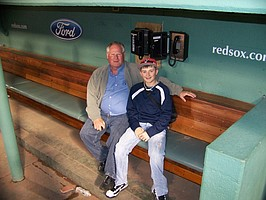 Lawrence's Marty Pattin, left, poses with grandson Bailey Pattin, a middle-infielder for Perry-Lecompton High, in a Fenway Park dugout. The elder Pattin was among the former Red Sox honored recently before a game at the venerable Boston ballyard.