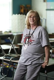 Retiring Woodlawn School teacher Sue Siegfreid, pictured in her classroom on Monday, has taught in the school district for 25 years.
