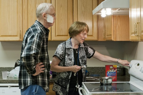After a morning of treatment, Phil and Nancy Gosling, of Goff, make breakfast Thursday, May 3, 2012, in one of the kitchens at Hope Lodge in Kansas City, Mo. They were staying at the lodge while Phil received treatments for squamous cell carcinoma, a skin cancer, at Kansas University Cancer Center.