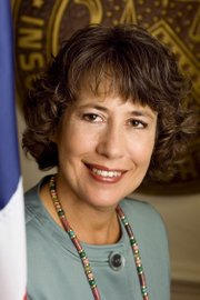 Sheila Bair, a former chairwoman of the FDIC. Bair received an honorary doctorate from Kansas University on Sunday.