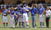 Kansas University senior baseball players and their parents are honored before the game against the Missouri Tigers on Saturday, May 19, 2012, at Hoglund Ballpark.
