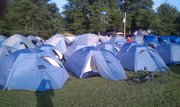 Biking Across Kansas participants set up camp in Osage City on the 2010 ride.