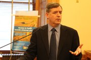Dr. Robert Moser, secretary of the Kansas Department of Health and Environment, announcing the new statewide health information exchange last week at the Statehouse. Moser is a member of the exchange&#39;s quasi-public regulatory body, the Kansas Health Information Exchange.