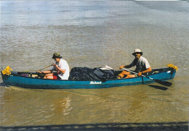 "Steven Faulker, right, and his son, Justin, on their 1996 1,000-mile canoe trip. Faulkner wrote a book about the journey, and there is now a film adaptation, called ""WaterWalk."""
