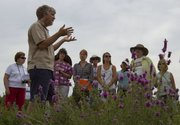 Kelly Kindscher, a KU professor of environmental studies, speaks to visitors Saturday during a tour of the Kansas University Native Medicinal Plant Research Garden, located at 1865 East 1600 Road.