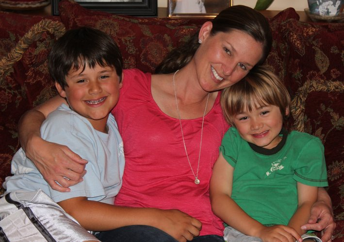 Melissa Hoffman, Lawrence, is pictured on Mother's Day with her sons Braden, 8, and Colin, 5. Hoffman, a registered nurse, facilitates a weekly support group Build Your Village for mothers suffering from pregnancy and postpartum adjustment challenges.