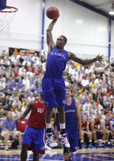 Kansas guard Ben McLemore elevates for a jam during a scrimmage on Wednesday, June 20, 2012, at the Horejsi Center.