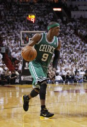 Boston Celtics' Rajon Rondo (9) during the first half of Game 7 of the NBA basketball playoffs Eastern Conference finals against the Miami Heat, Saturday, June 9, 2012, in Miami.